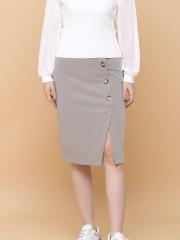 Side Split Button Up Midi Slim Skirt