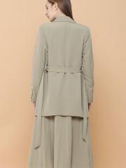 2 Pcs Set Blazer With Pleated Skirt And Belt