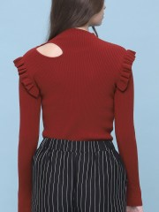 Side Cut Out Frill Knitted Top
