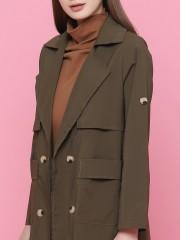Double Breasted Long Raincoat Jacket