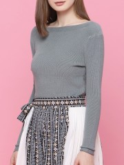 Boat Neck Knit Top