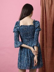 Bloom Flower Print Elastic Half Dress