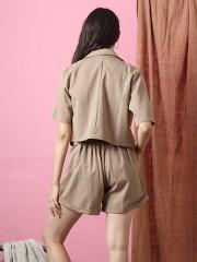 Cottage Core 2-Pcs Set Short And Short Sleeve Blazer