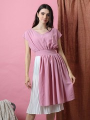 Cottage Core Botton Pleats Midi Dress