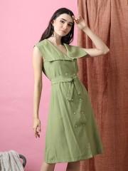 Cottage Core Wide Flap Collar Dress