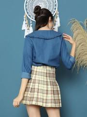 Cottage Core Big Flap Ruffles Collar Denim Shirt