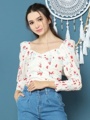 Cottage Core Flower Print Crop Top