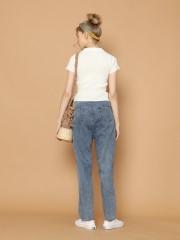Cigarette Denim Pants With Kanvas Belt