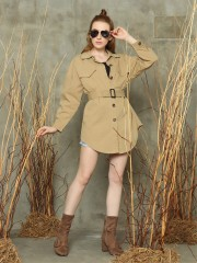 Double front pockets waist-tie trench coat