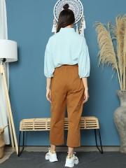 Cottage Core Cigarettes Pants With Mathing Color Belt