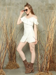Top-ruffled wrap playsuits