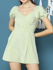 Cottage Core Front Fold Pleats Puff Sleeves Playsuit