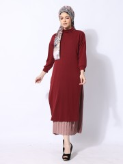 Ramadhan Moon Double Layer Inner Pleats High Neck Maxi