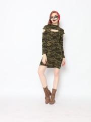 TM CAMO COLD SHOULDER NECKLINE HOLE DRESS