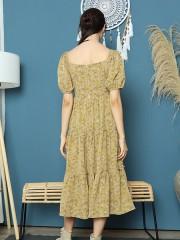 Cottage Core Layer Ruffles Midi Flower Print Dress
